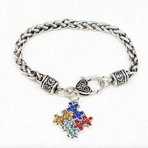 "Silver Tone Autism Awareness Bracelet 8"" Long"